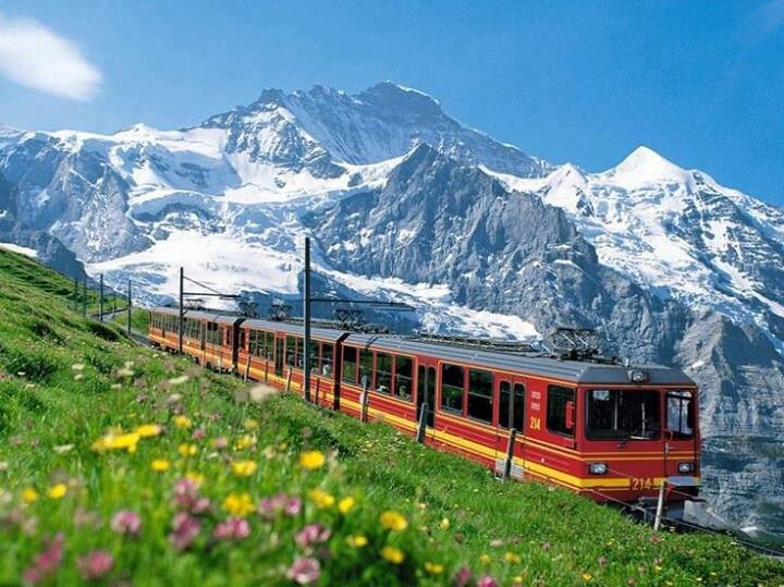 Bernina Express Train  Alps