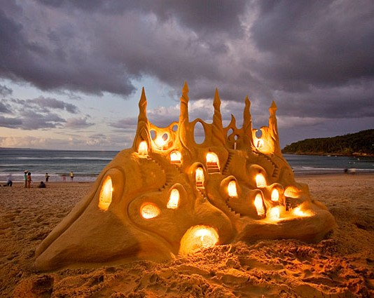 beautiful sand castle lights